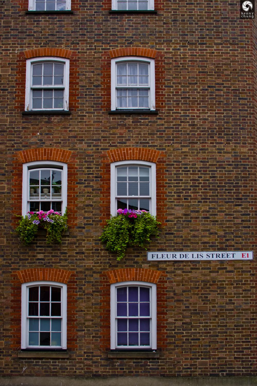 A pretty building on Fleur de Lis street in Spitalfields, London