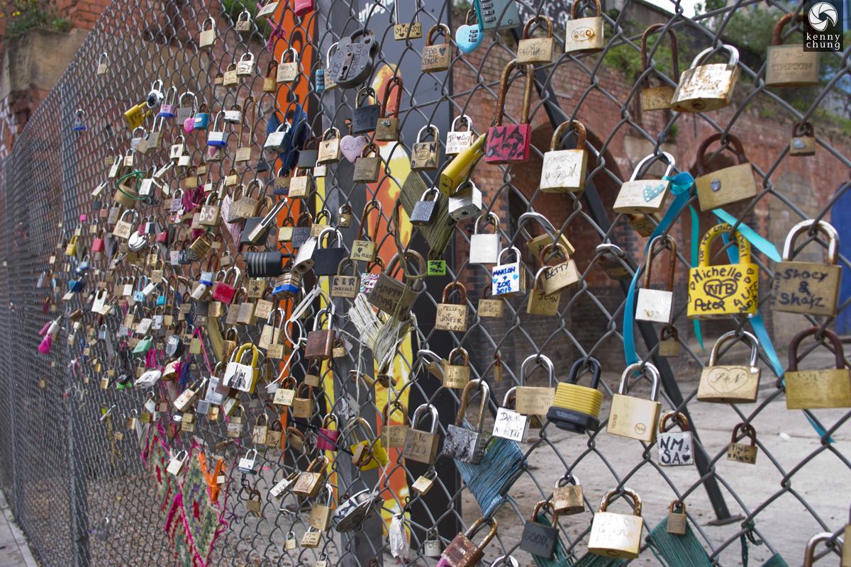 Love locks on a fence in Shoreditch, London