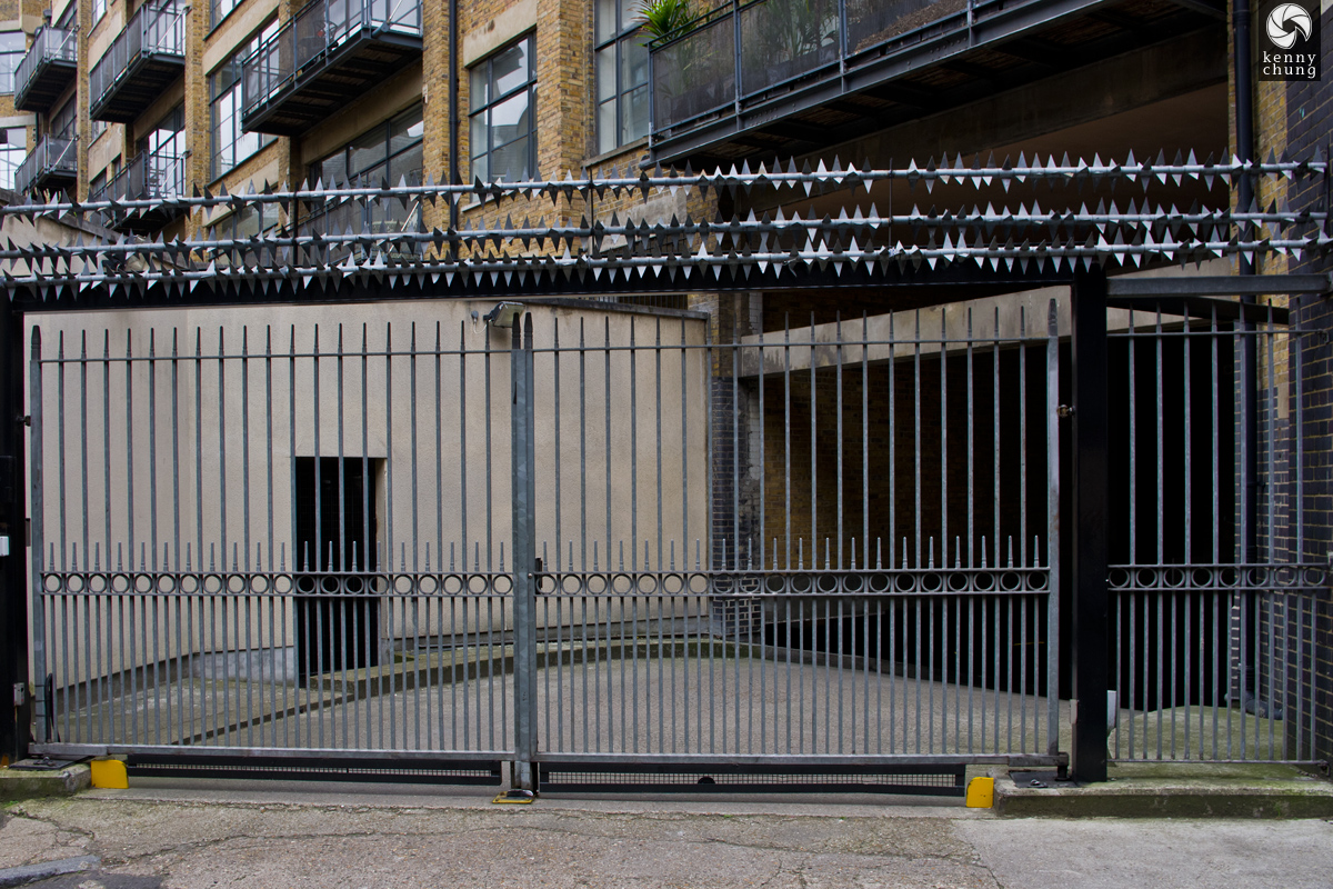 Barbed wire fence in Shoreditch, London