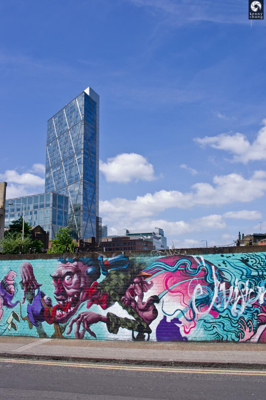GENT48 graffiti mural near the Shoreditch High Street tube station in London