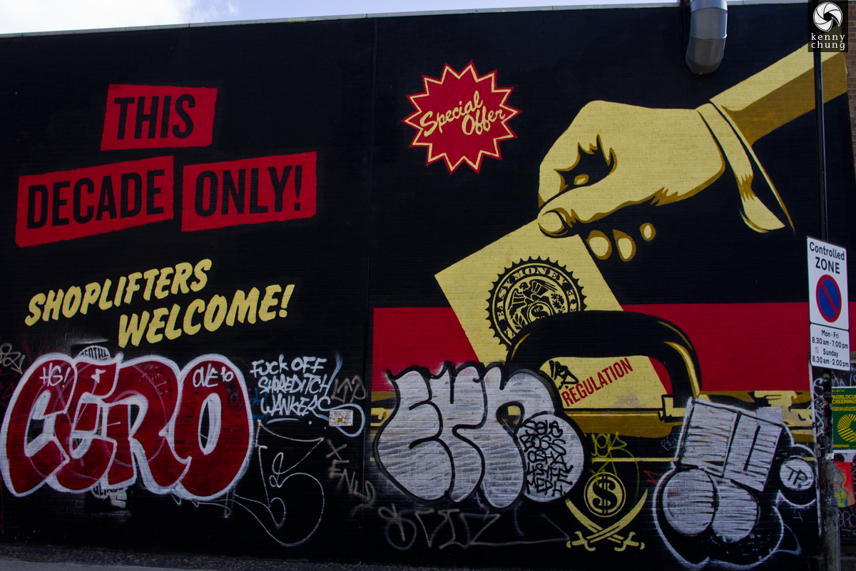 Shoplifters Welcome mural in Shoreditch, London by Shepard Fairey and Jamie Reid