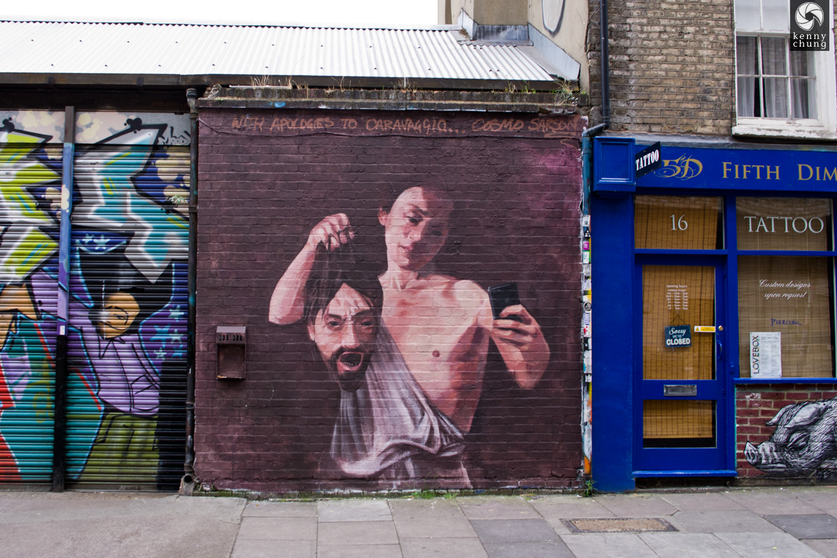 Cosmo Sarson's Caravaggio Selfie graffiti in Shoreditch, London