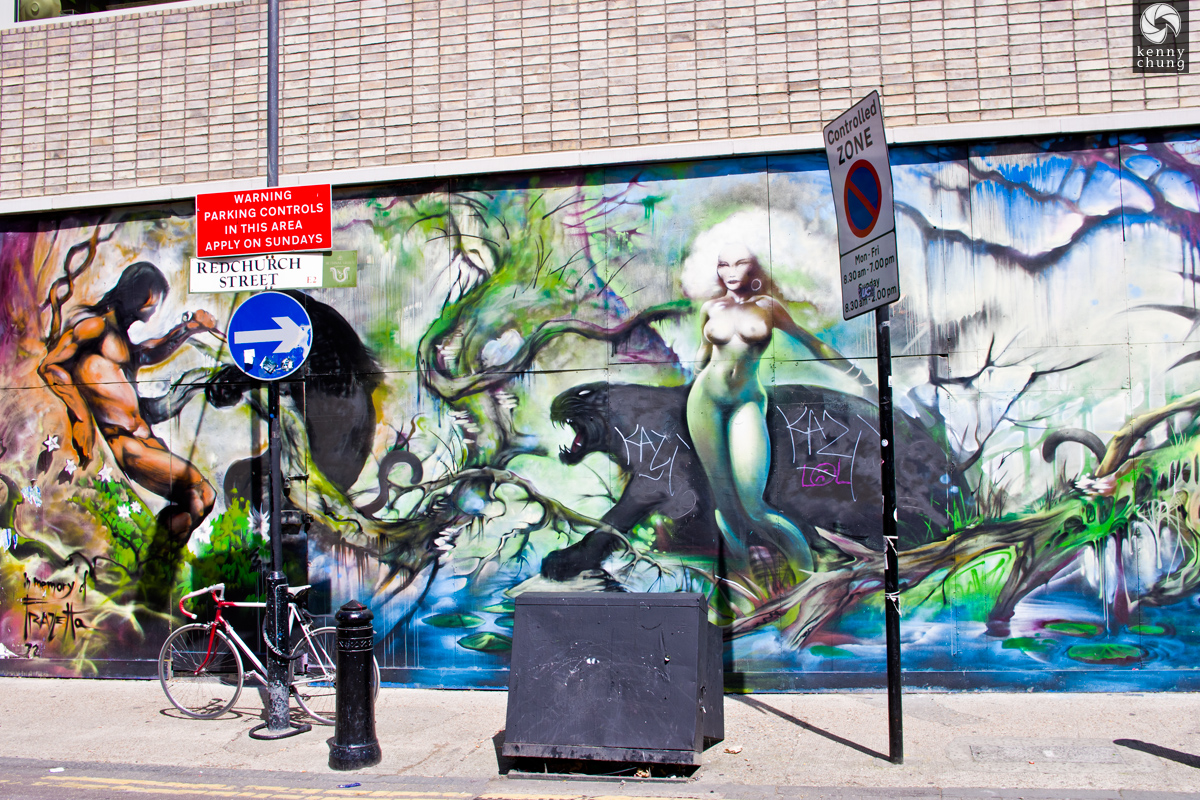 A graffiti mural on Redchurch Street in Shoreditch, London