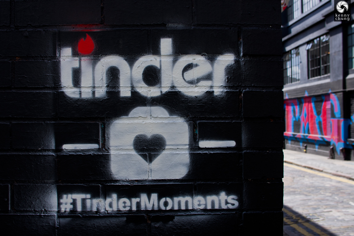 Tinder Moments graffiti in Shoreditch, London