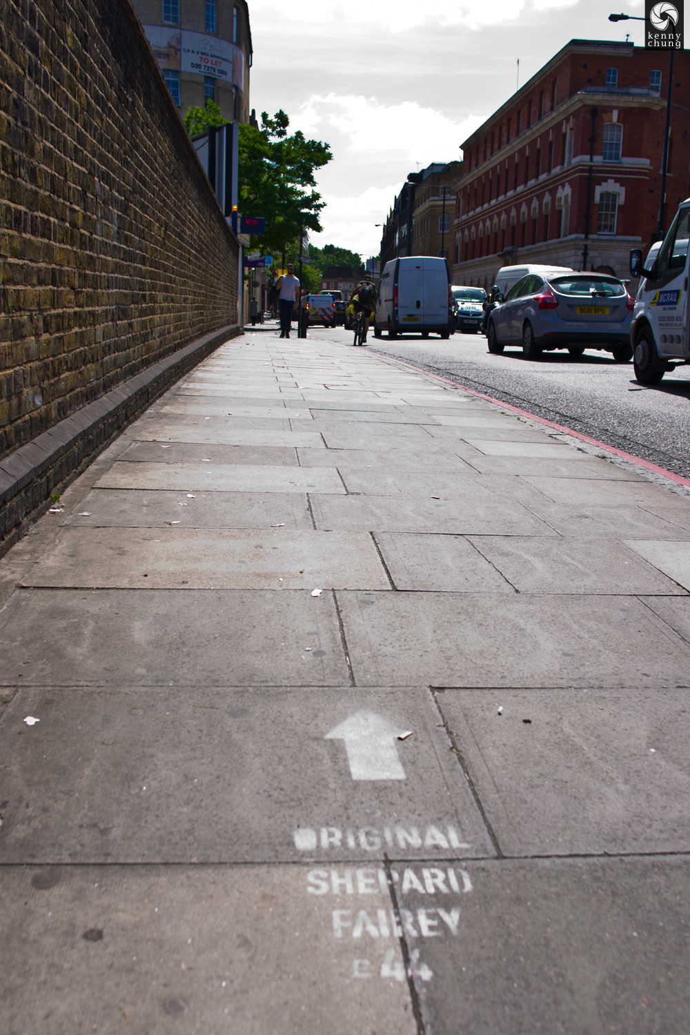 Original Shepard Fairey sidewalk graffiti prank in Shoreditch