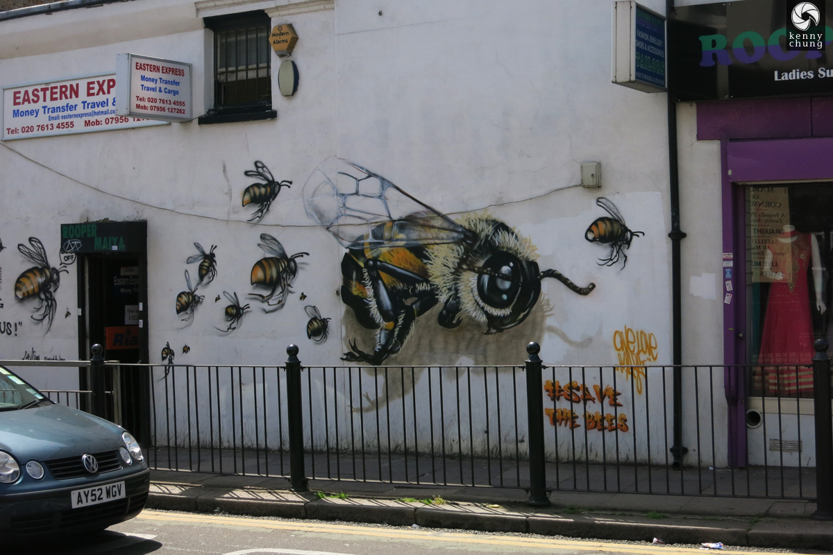 Save The Bees graffiti project in Bethnal Green, London