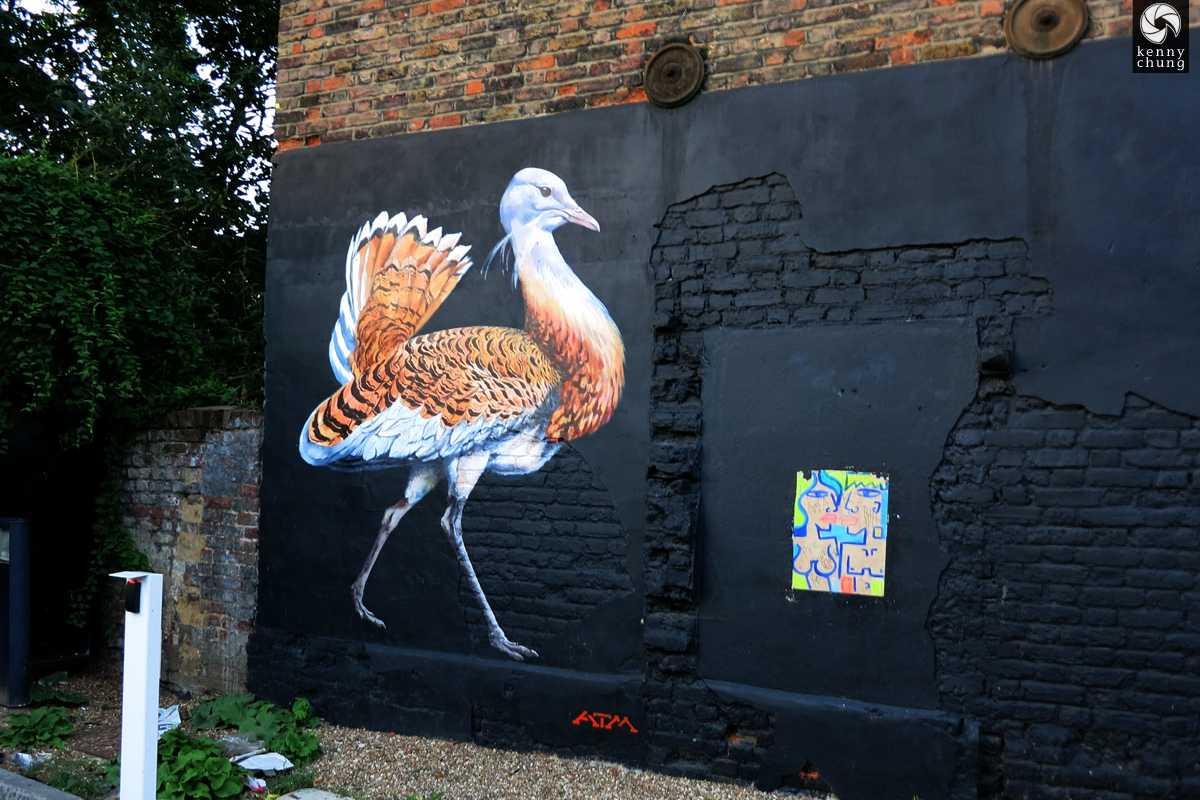 ATM Endangered Birds graffiti in Whitechapel, London