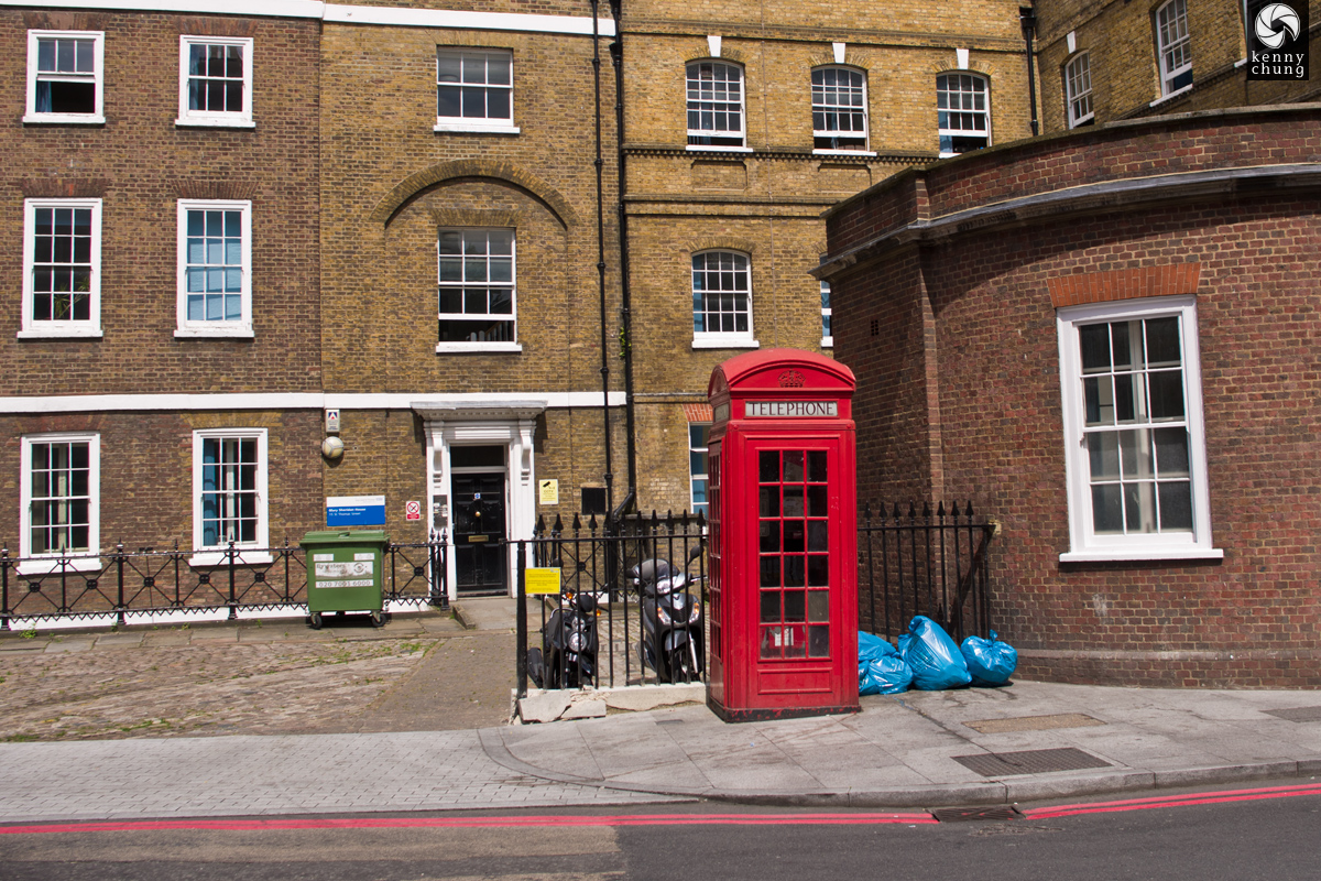 Red phone booth in Southwark, London