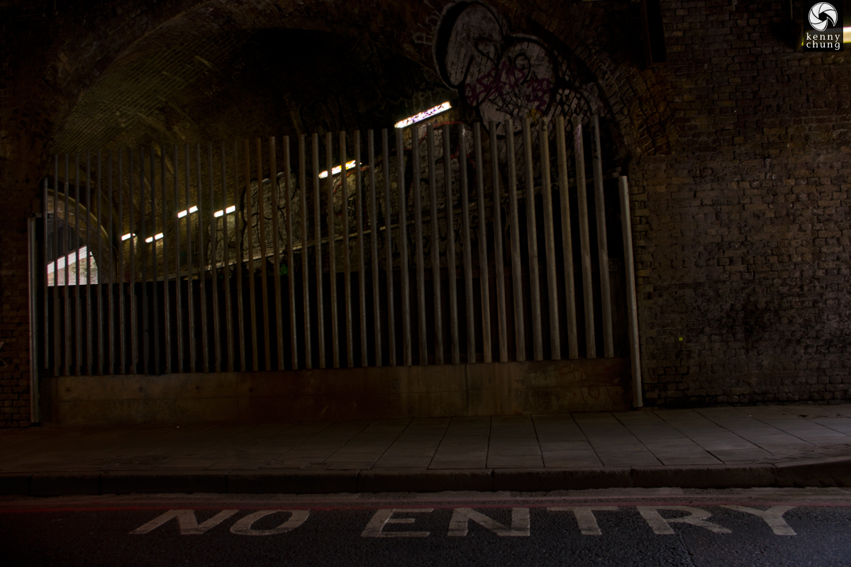 A No Entry sign, probably somewhere in/near Southwark, London