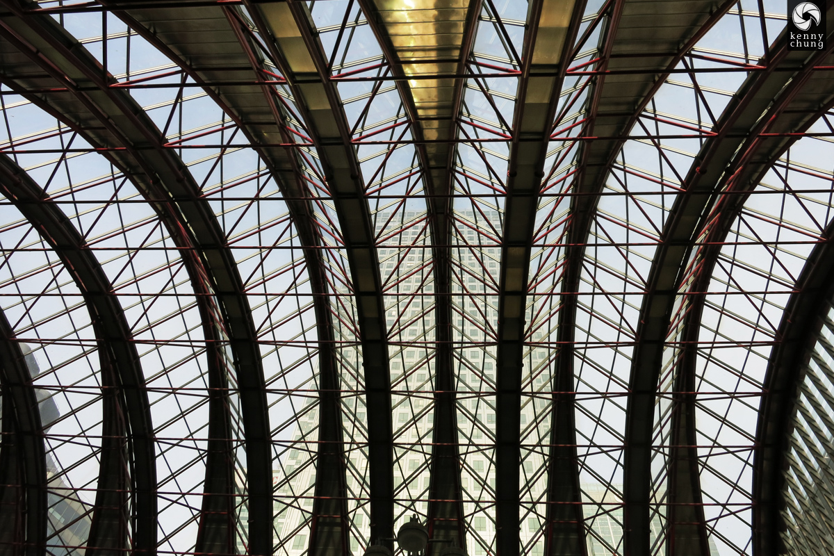 The ceiling of the Canary Wharf underground station