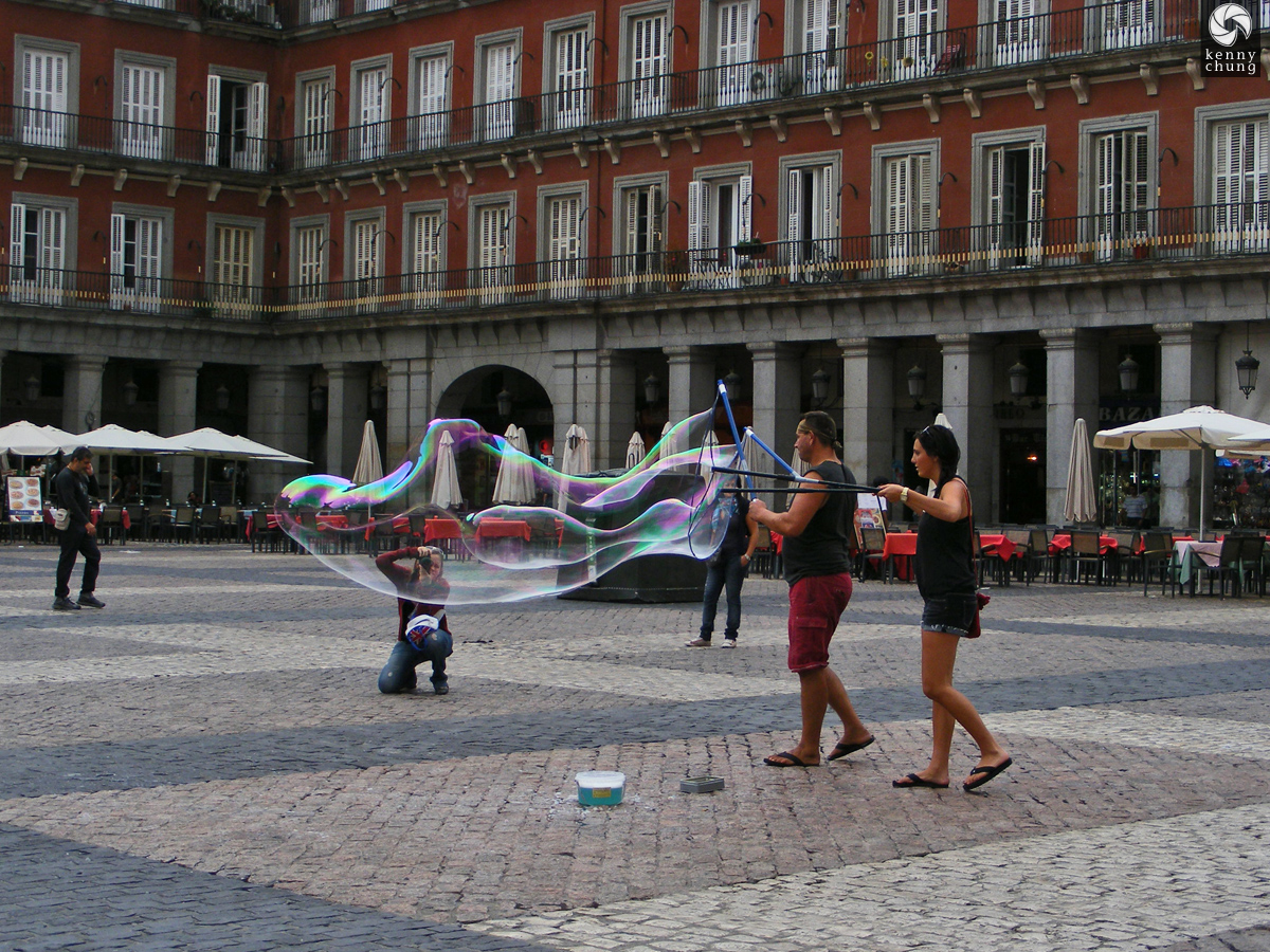 Blowing Bubbles in Plaza Mayor
