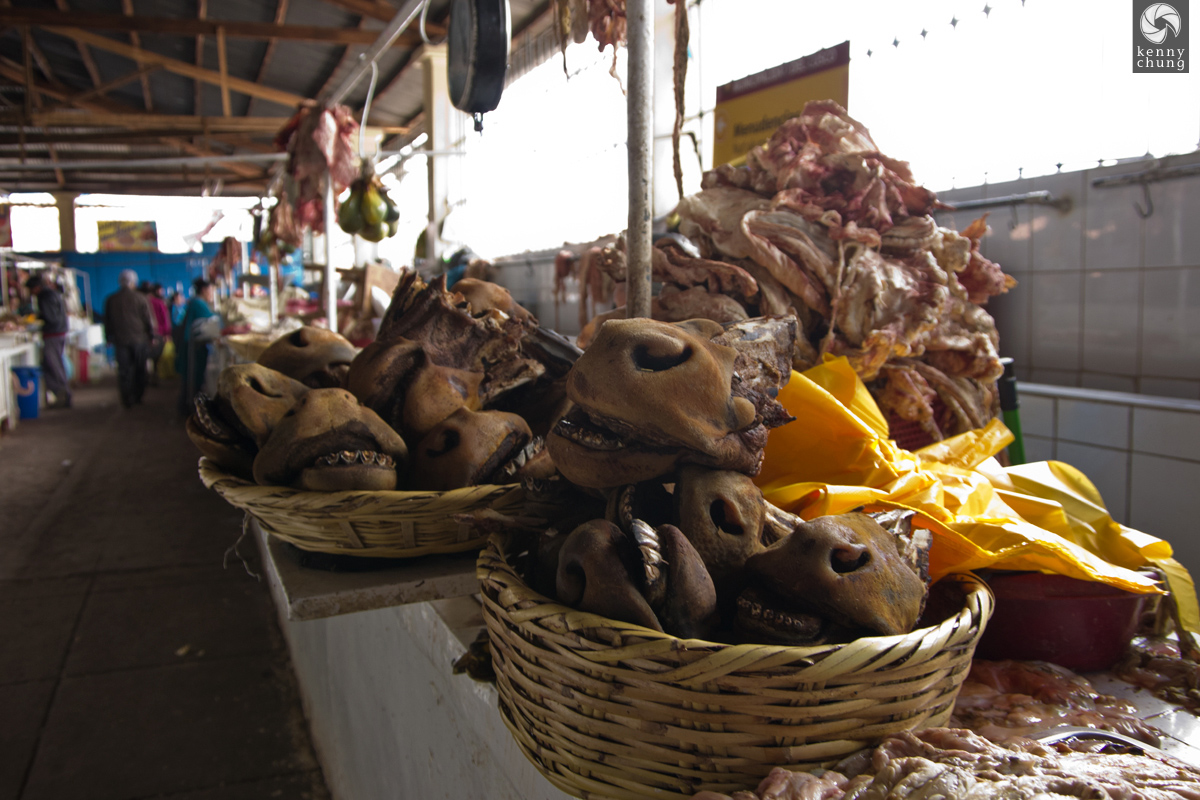 Donkey jaws for sale at San Pedro Market in Cusco, Peru