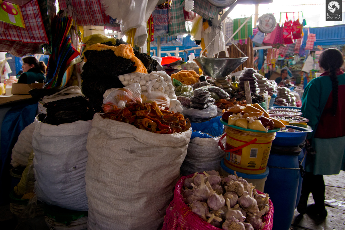 Dried vegetables for sale at San Pedro market, Cusco