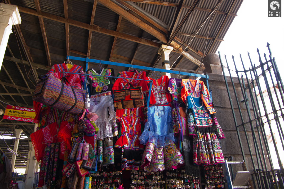 Girls' dresses for sale at San Pedro Market, Cusco
