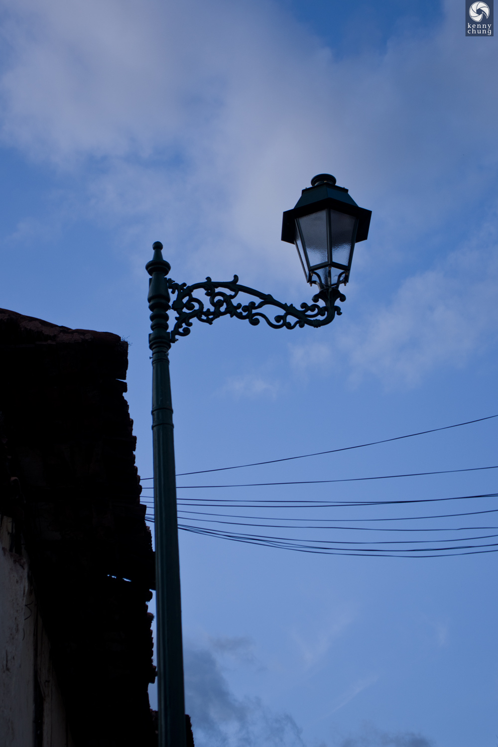 A streetlight in Cusco, Peru.