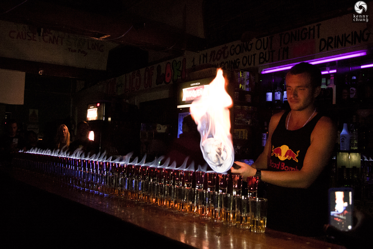 Flaming shots at Loki Hostel in Cusco