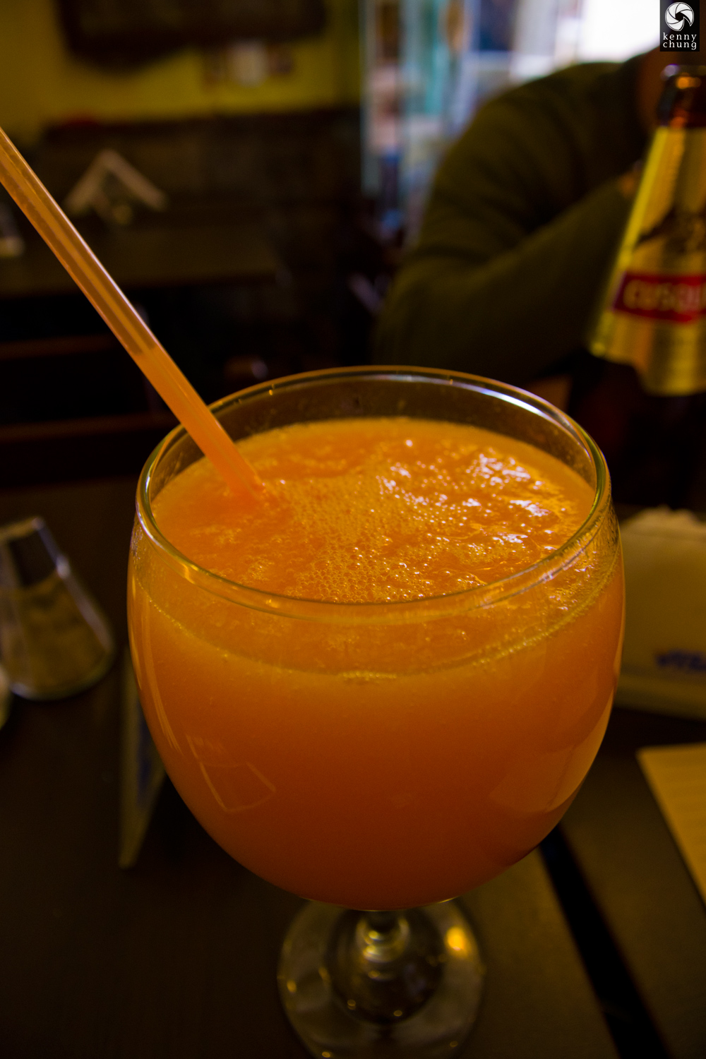 Fresh papaya juice at Pachamama, Cusco