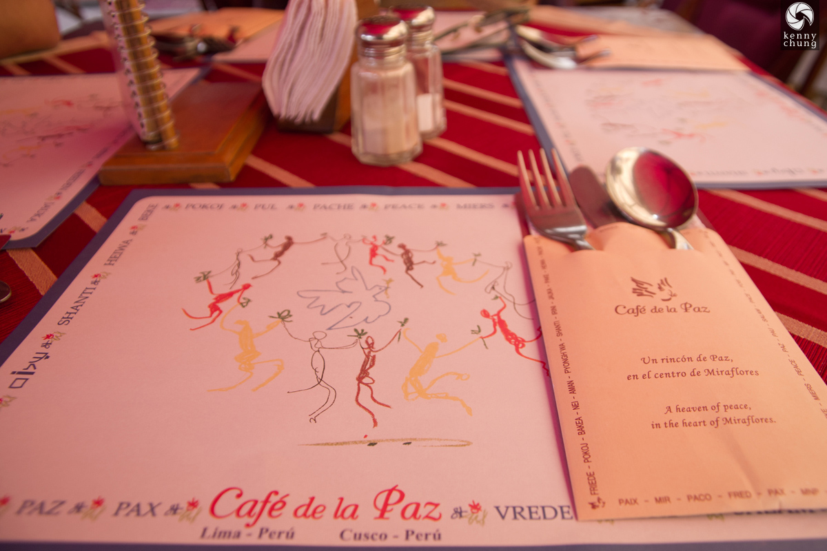 Meal at Cafe de la Paz in Lima.