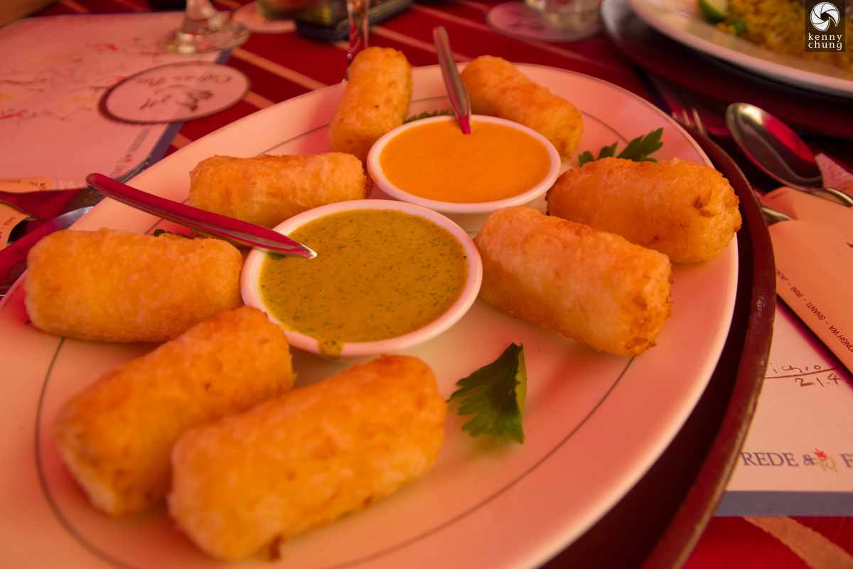 Queso andino frito (fried cheese) with aji and huancaina dipping sauces