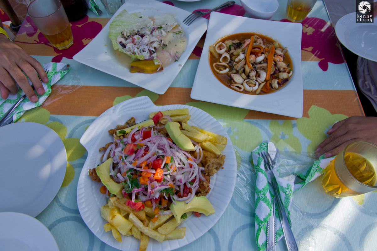 Our fresh seafood meal at La Tia Fela in Paracas, Peru