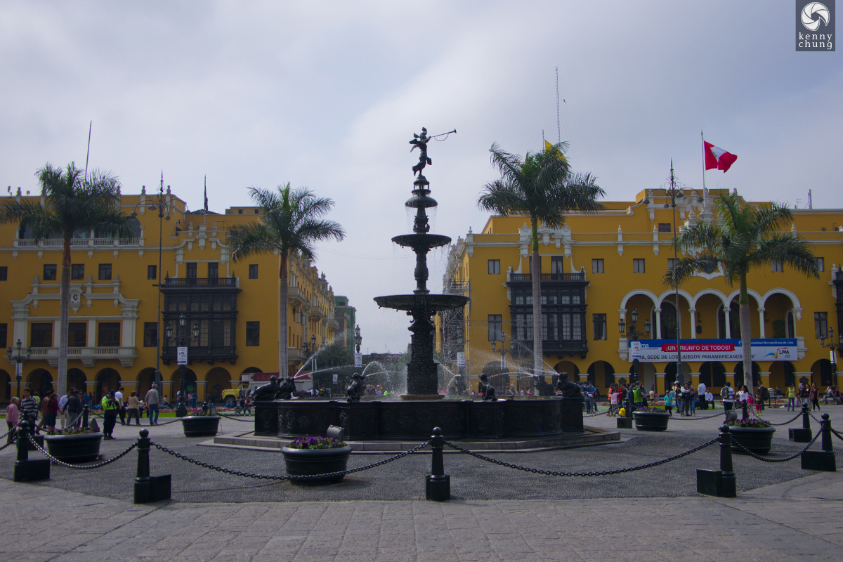 Fountain in the middle of Plaza Mayor in Lima.