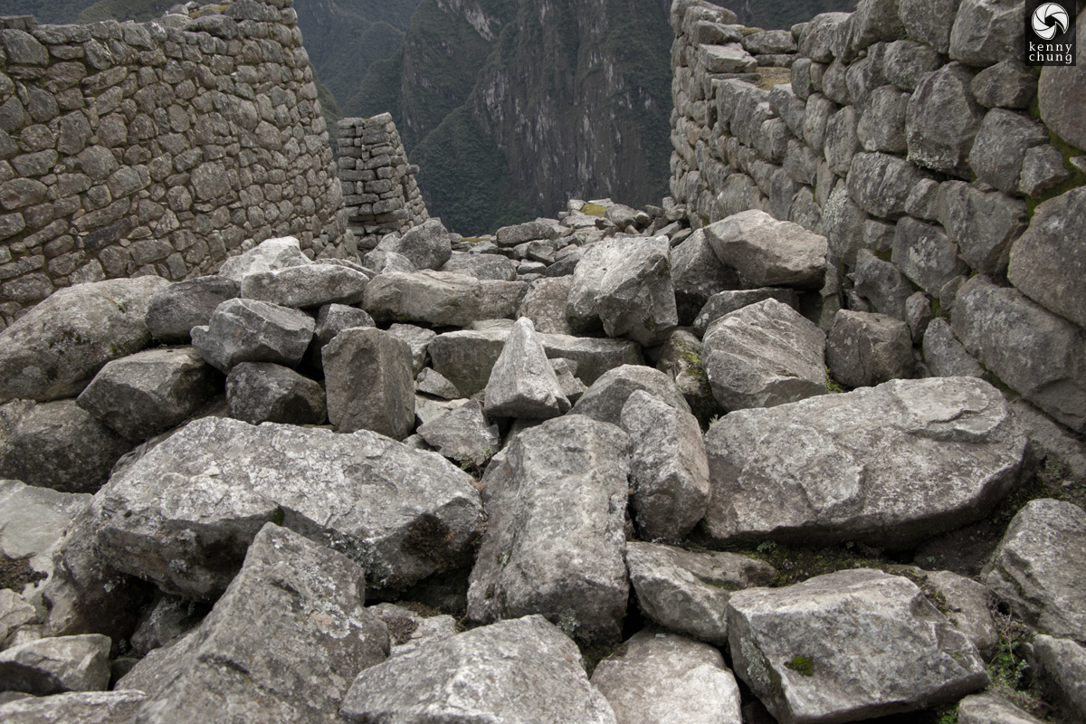 A pile of loose stones at Machu Picchu