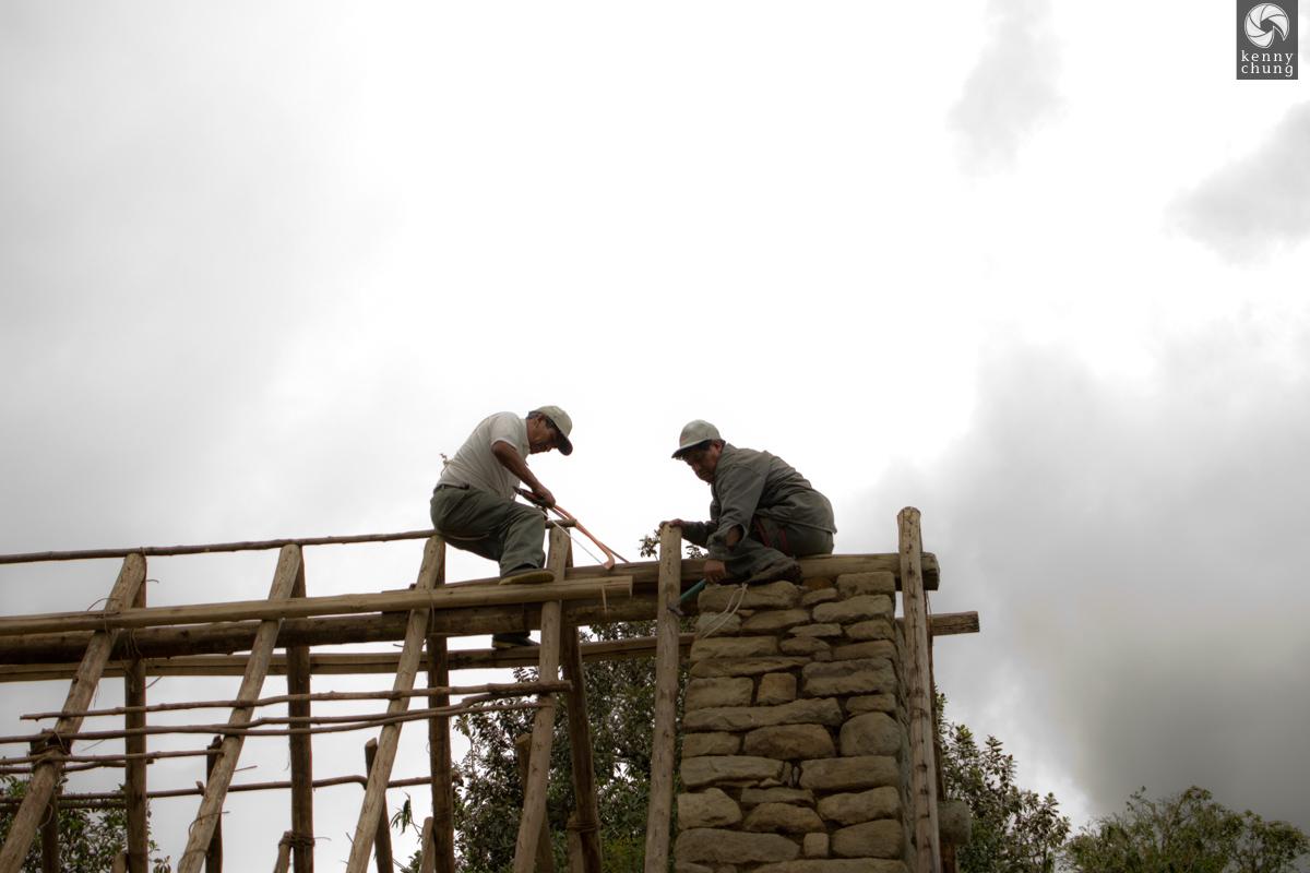 Men doing construction at Machu Picchu