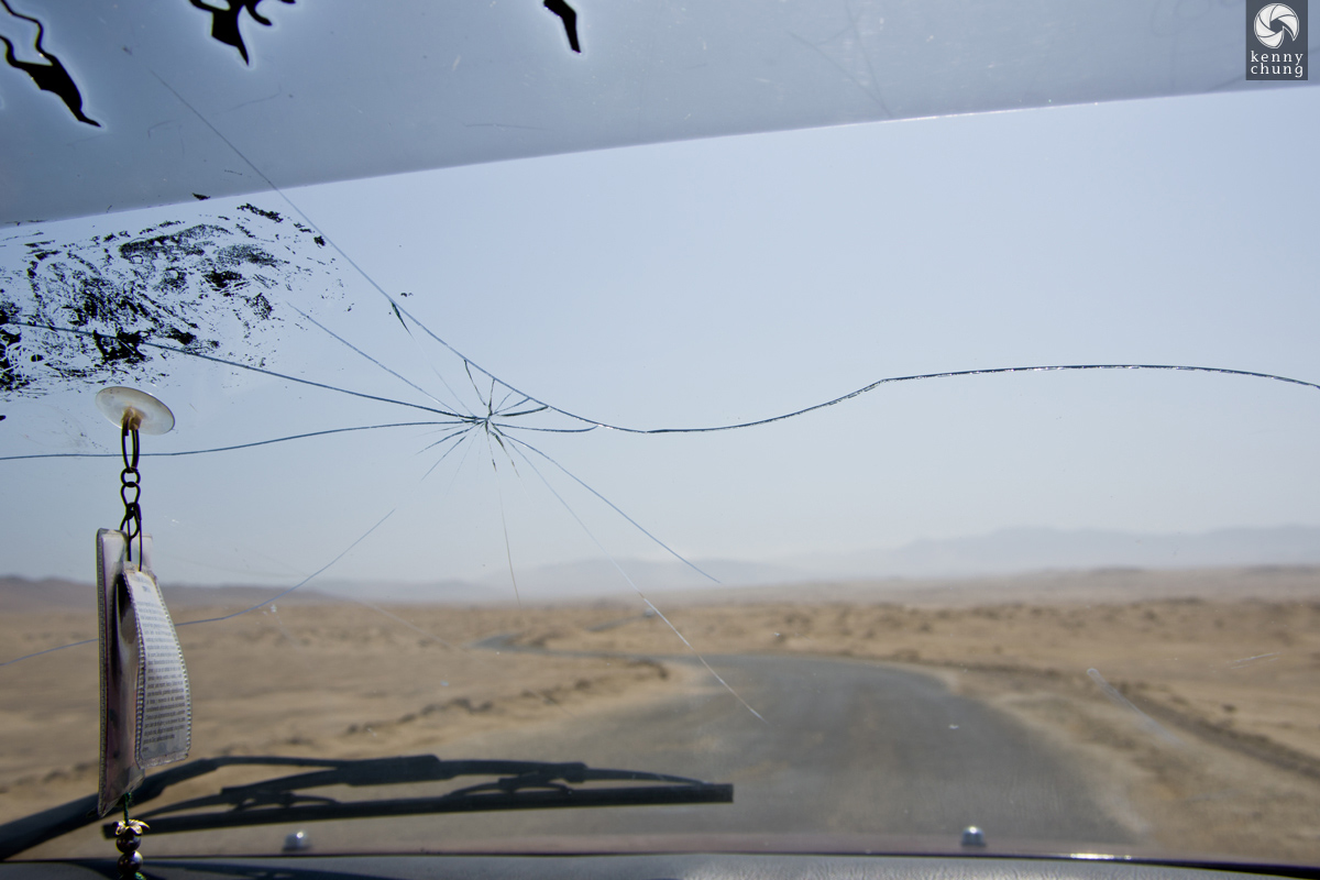 A crack in the windshield of our cab