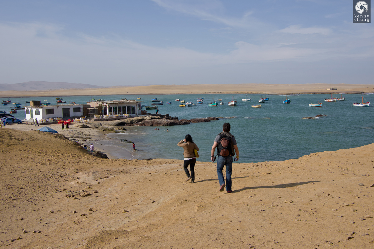 Walking down the hills at Paracas.