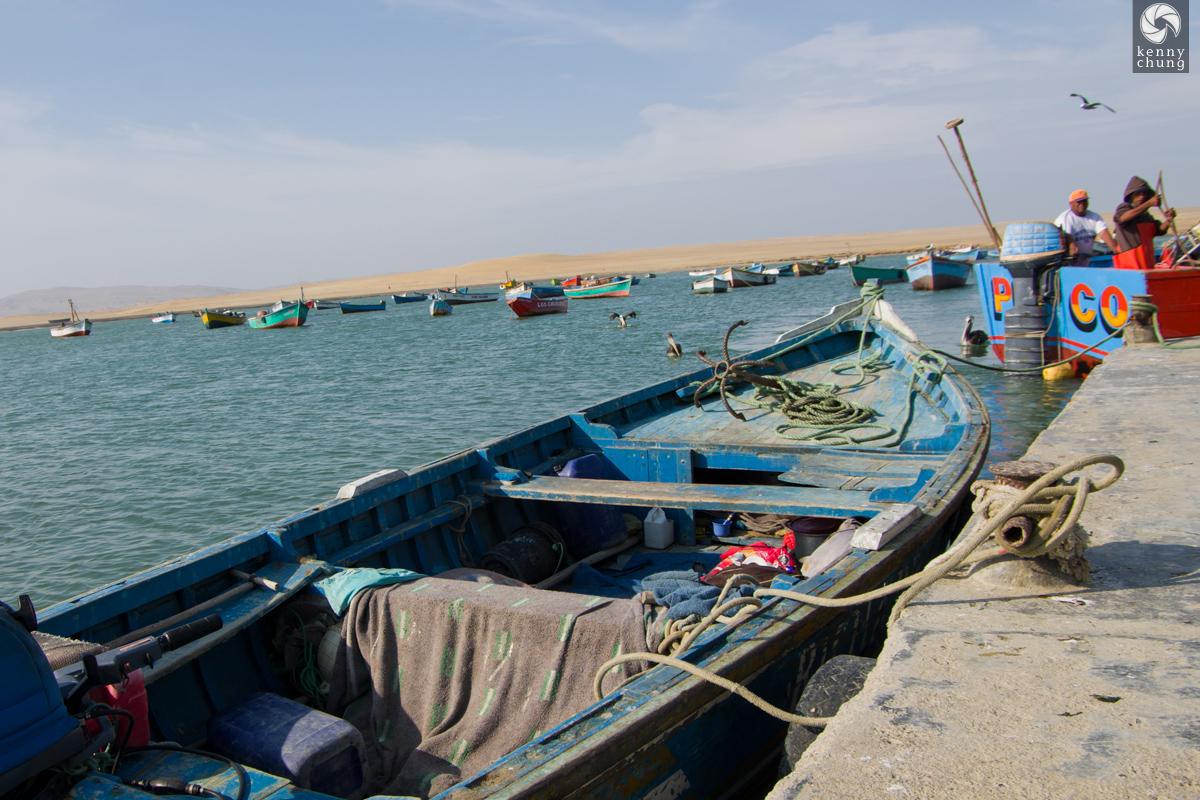 Docked fishing motorboat in Paracas