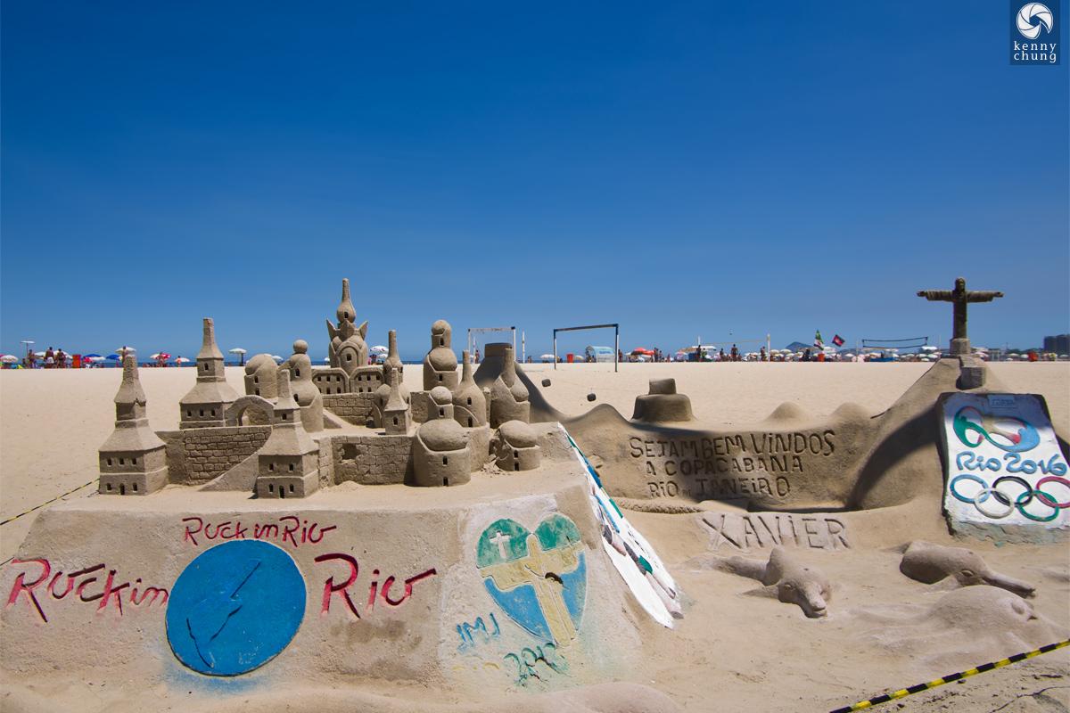 Sand castle sculpture at Ipanema Beach, Rio de Janeiro