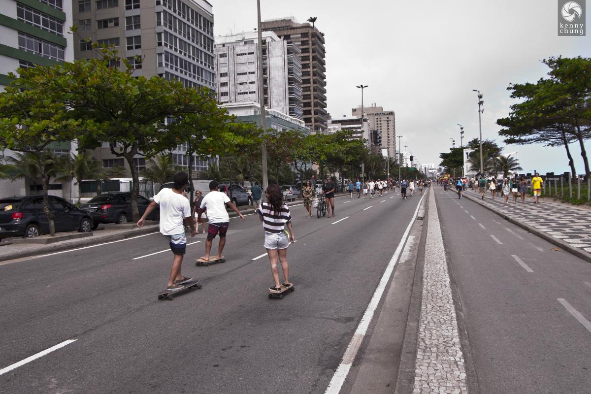 Skateboarders on Avenida Vieira Souto in Rio de Janeiro