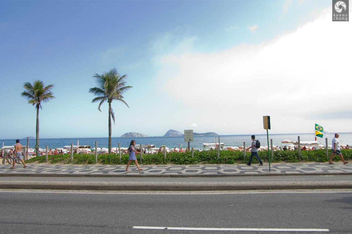 Beach and sidewalk at Ipanema Beach in Rio de Janeiro