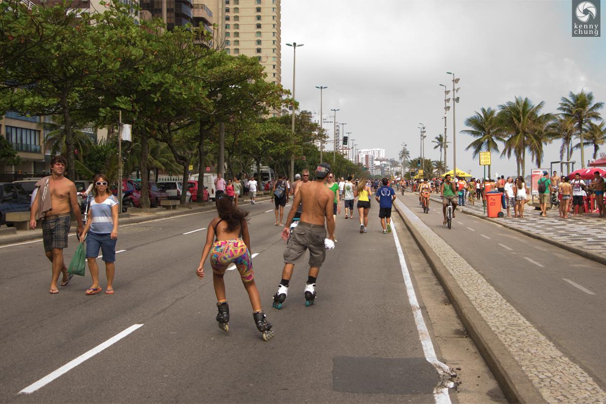 Rollerbladers on Avenida Vieira Souto in Rio de Janeiro