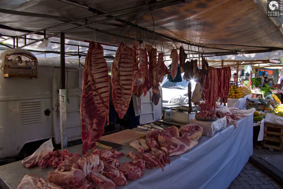 Butchers' meat for sale at Ipanema Farmers Market in Rio de Janeiro