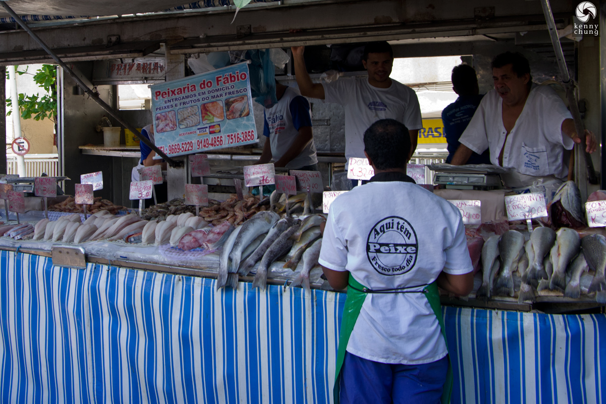 Fresh fish for sale at Ipanema Farmers Market in Rio de Janeiro