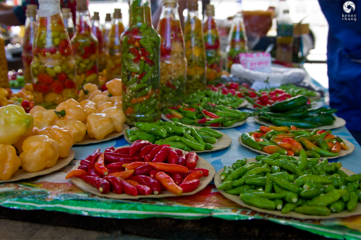 Hot chili pepper oil for sale at Ipanema Farmers Market in Rio de Janeiro