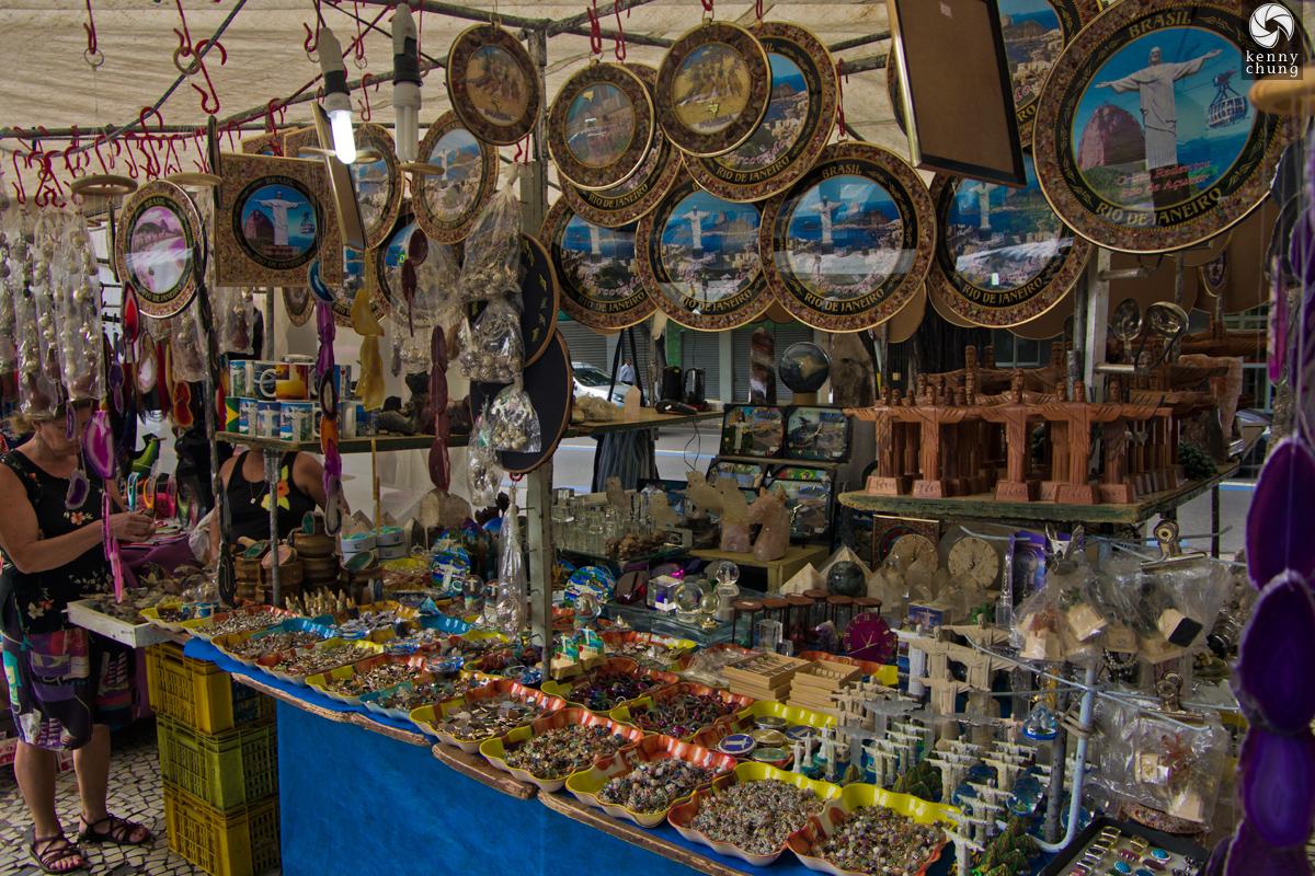 Cristo Redentor souvenirs for sale at Feira Hippie de Ipanema, Rio de Janeiro.