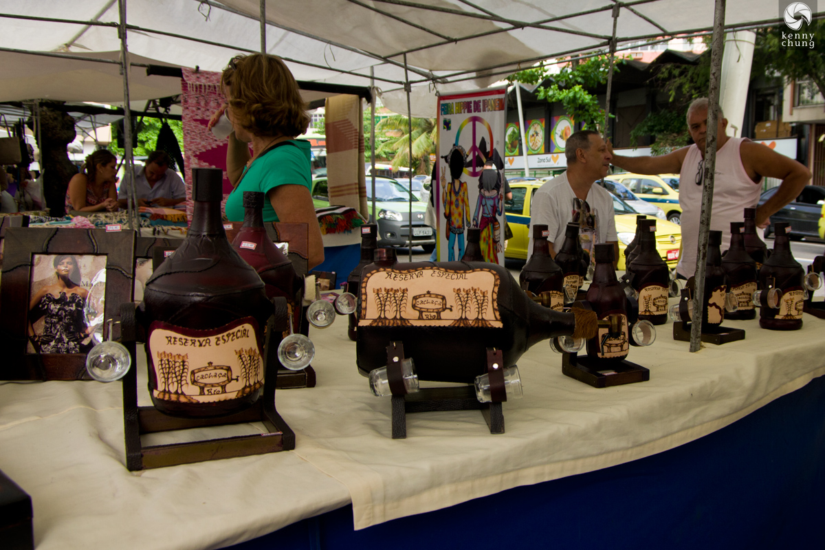 Leather cachaca canteens at the Ipanema Hippie Fair, Rio de Janeiro.