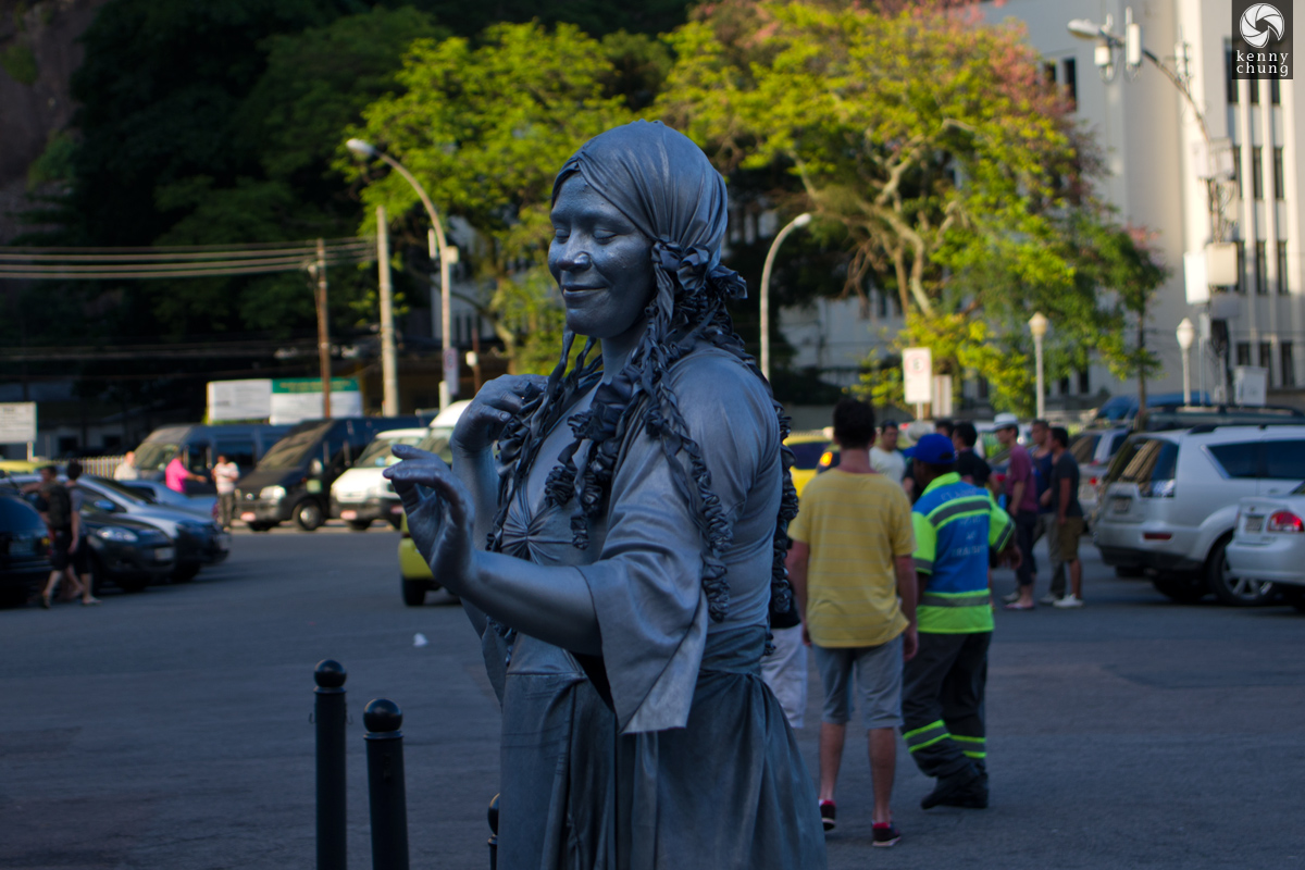Living statue outside Sugarloaf Mountain in Rio de Janeiro.