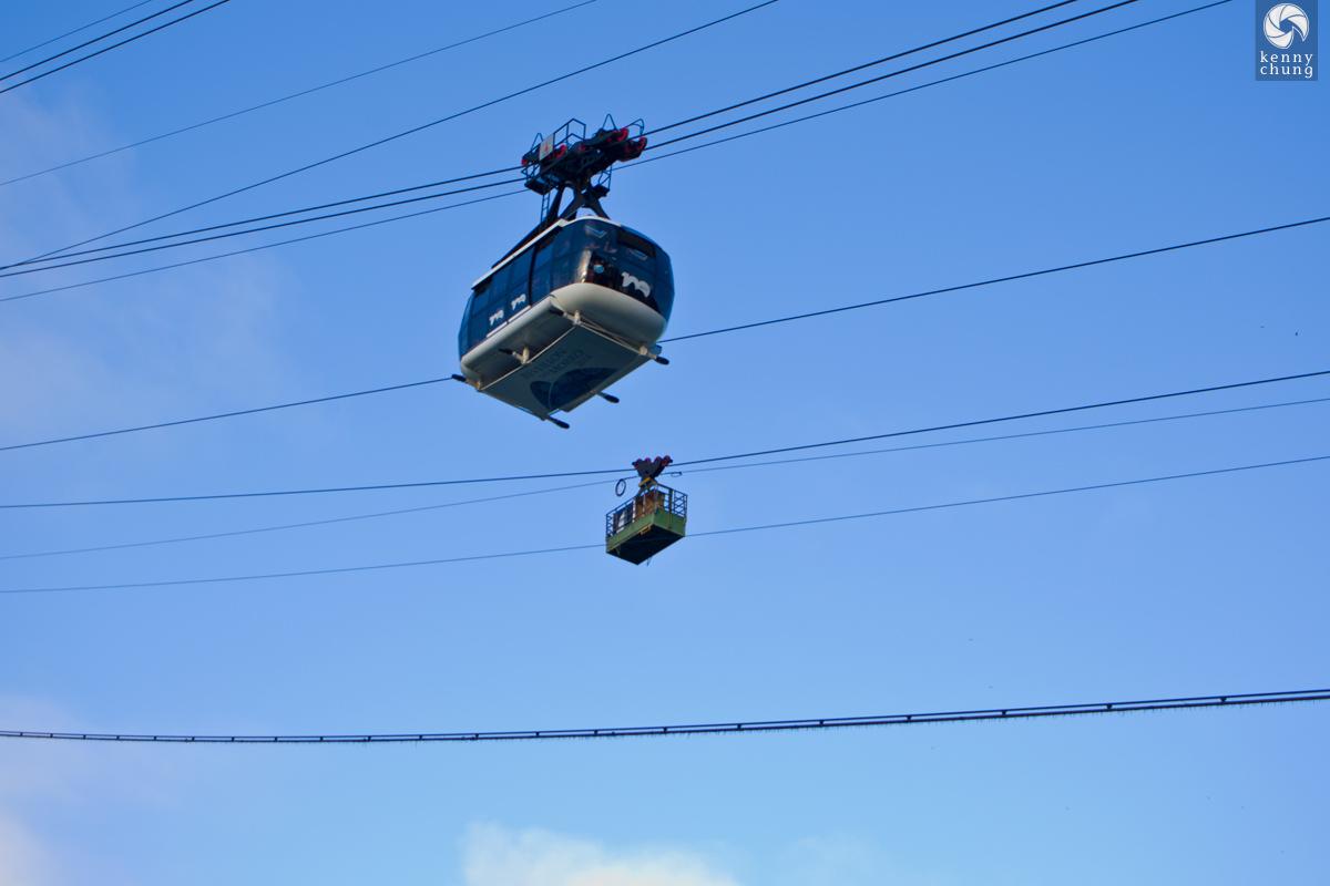 Two trams at Morro da Urca in Rio de Janeiro.
