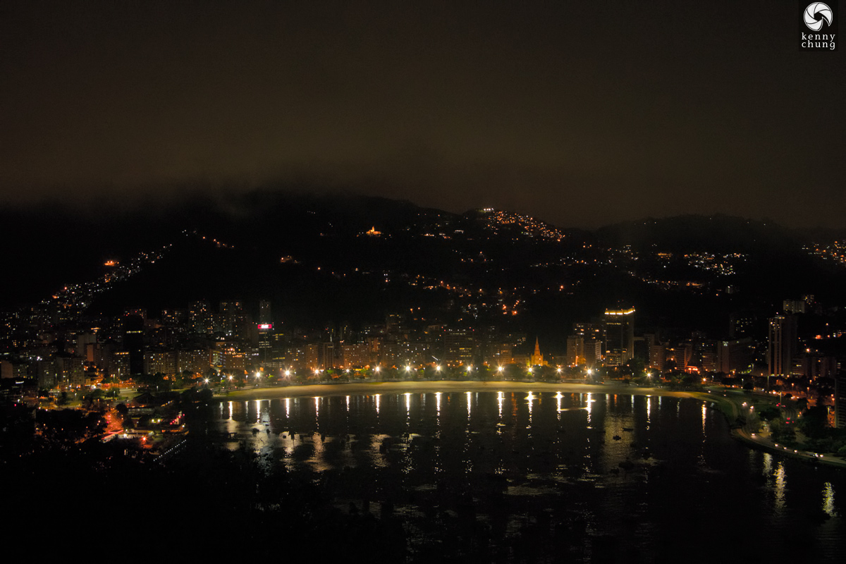 Night view of Guanbara Bay on Sugarloaf Mountain, Rio de Janeiro