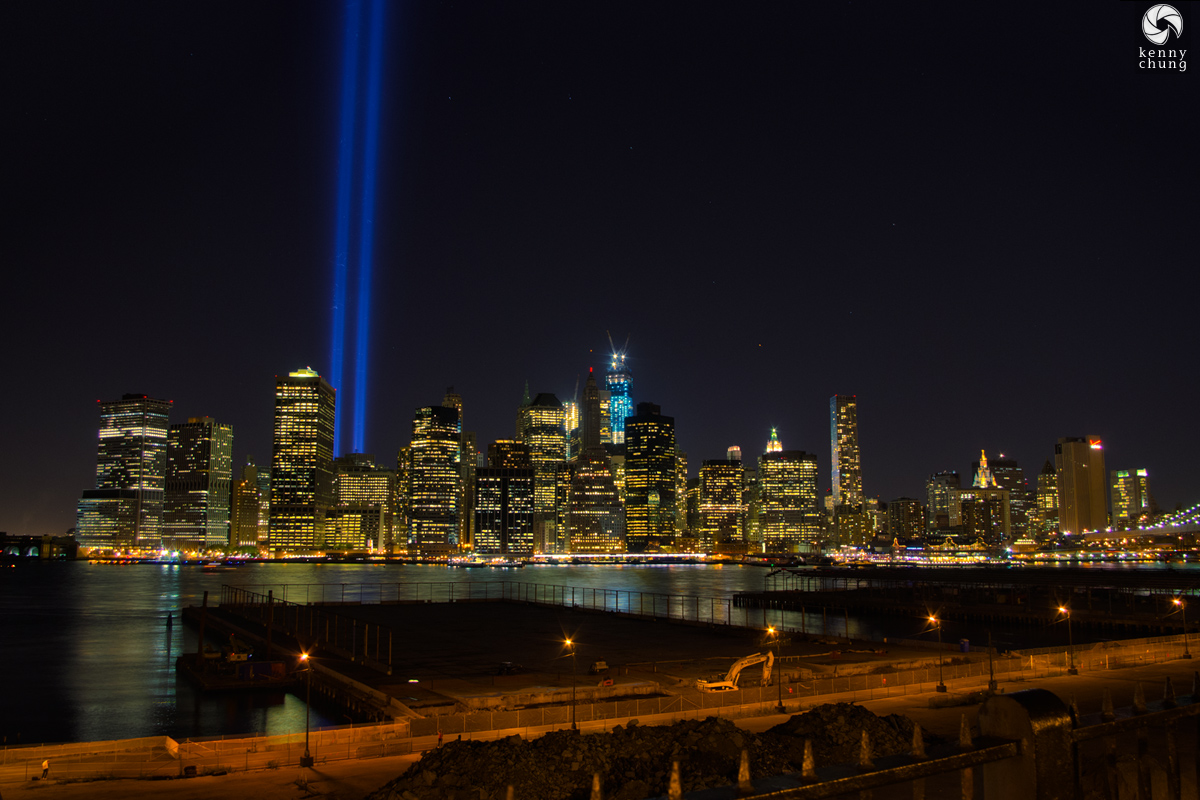 9/11 Tribute in Light 2012 from Brooklyn Promenade