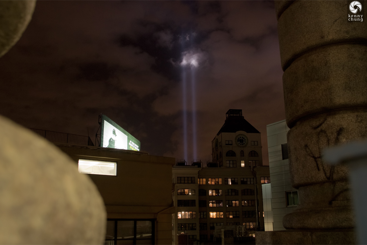 Tribute In Light 2014 behind the Clock Tower Condo in DUMBO, Brooklyn