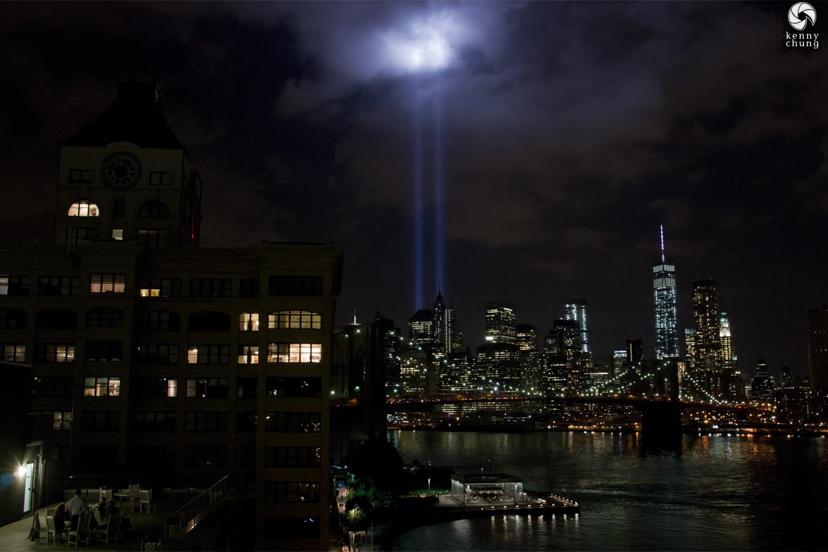 DUMBO Clock Tower and Tribute In Light 2014