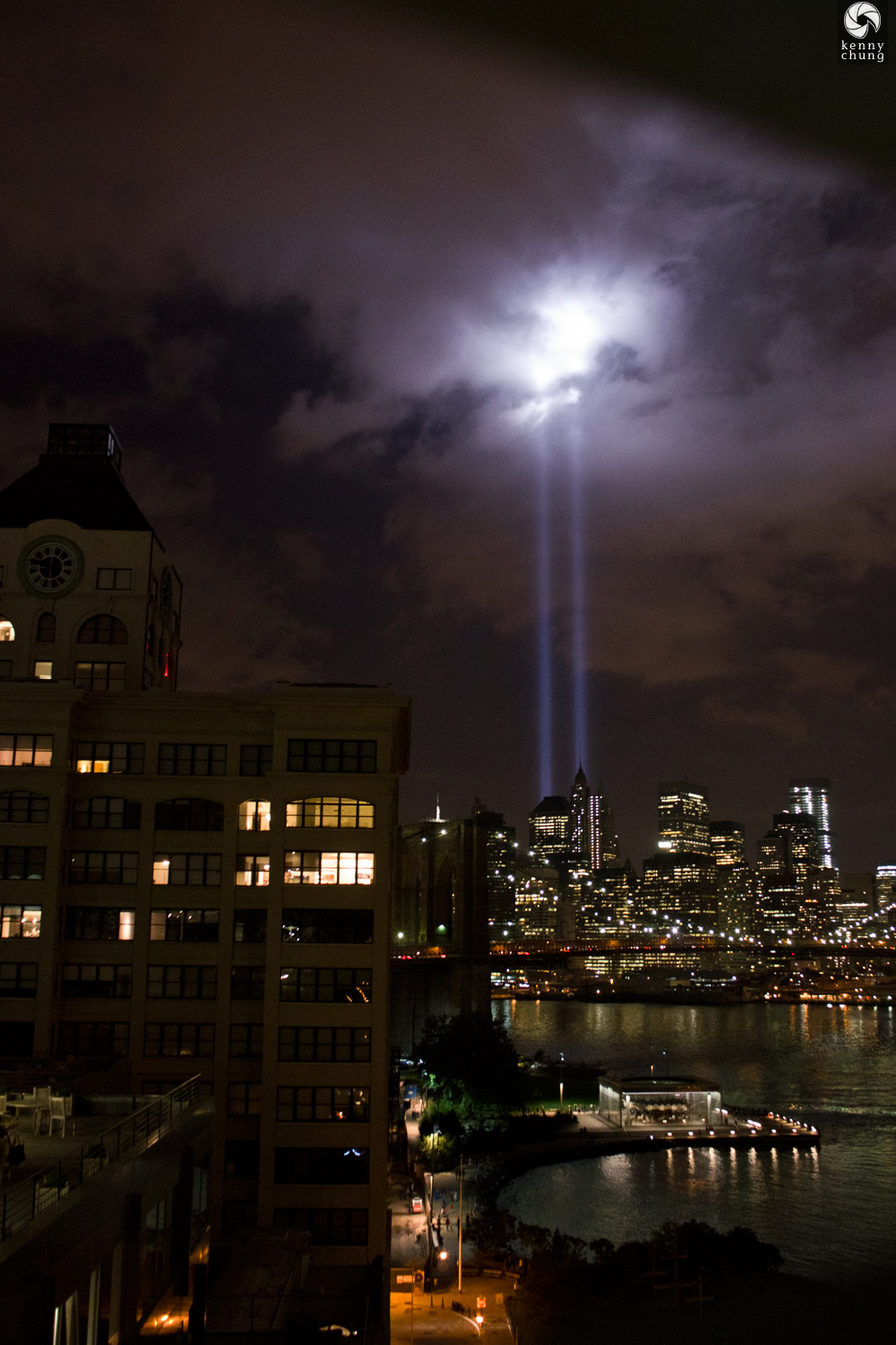 Tribute In Light 2014, the Clock Tower, Brooklyn Bridge Park, and Jane's Carousel