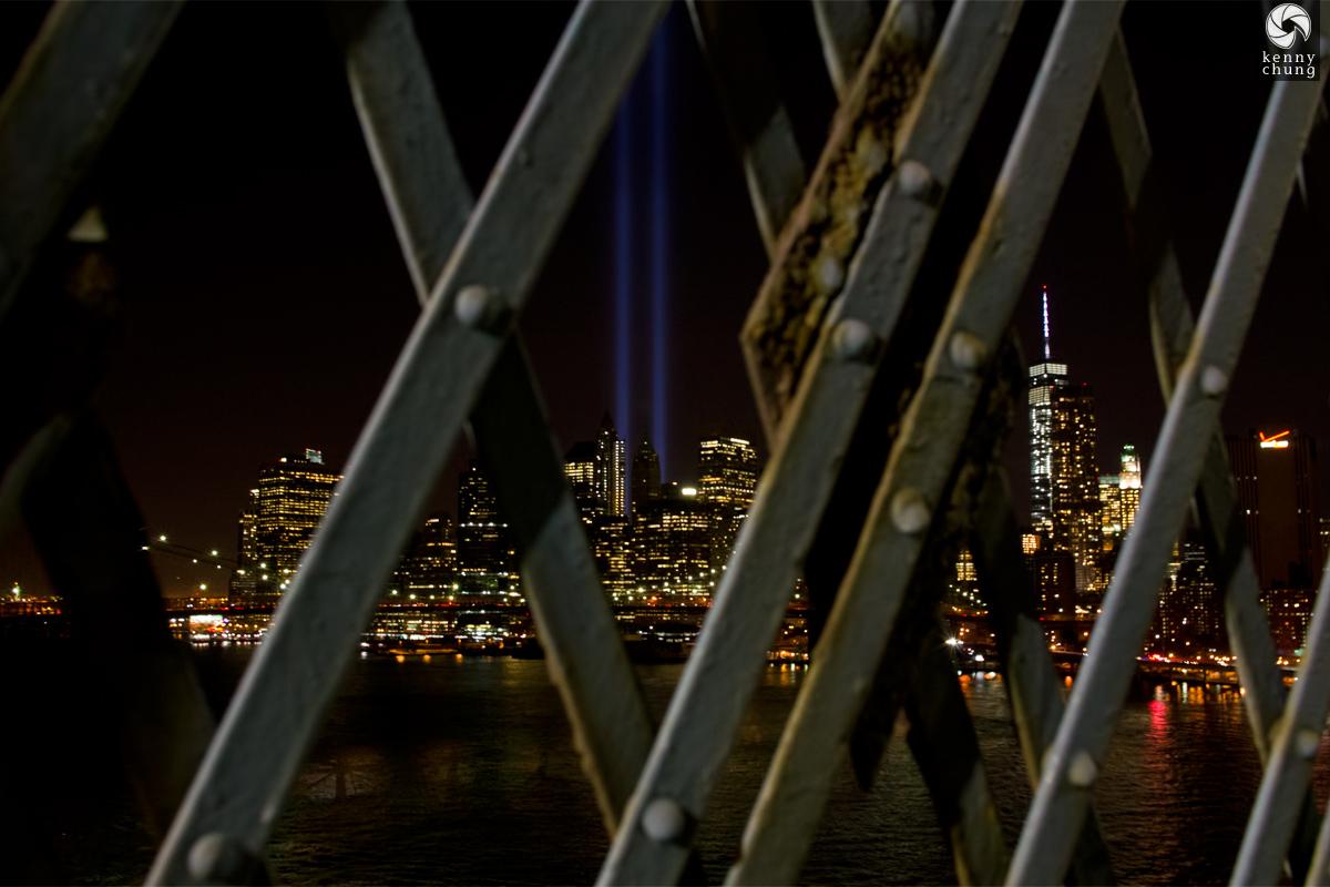 Tribute In Light 2014 through the Manhattan Bridge lattice