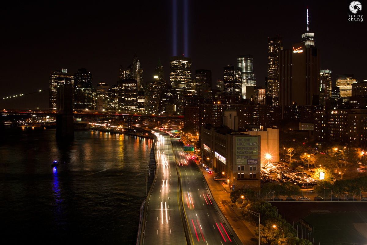 Tribute In Light 2014 over the FDR Drive in Manhattan
