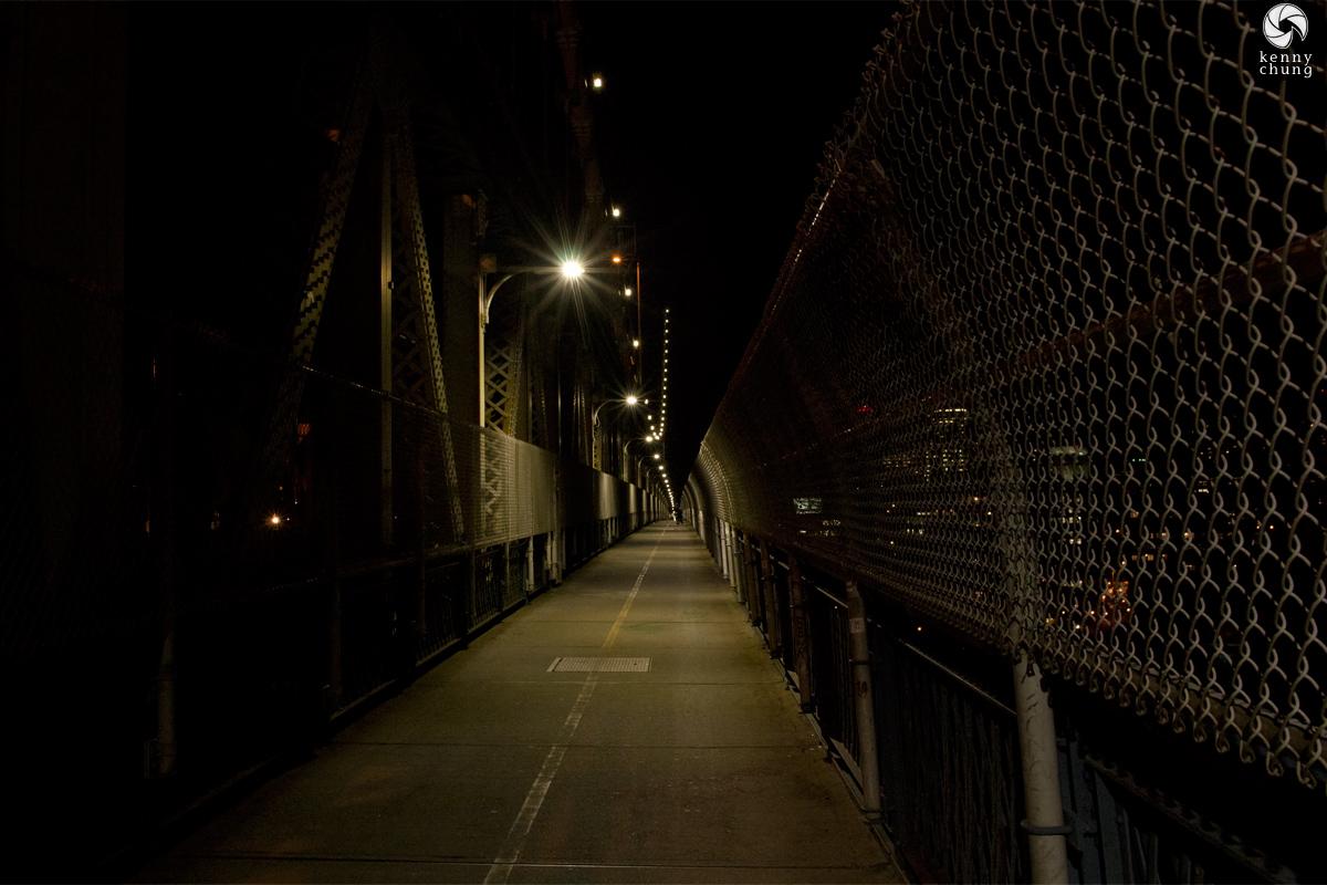 Manhattan Bridge Pedestrian Walkway at night