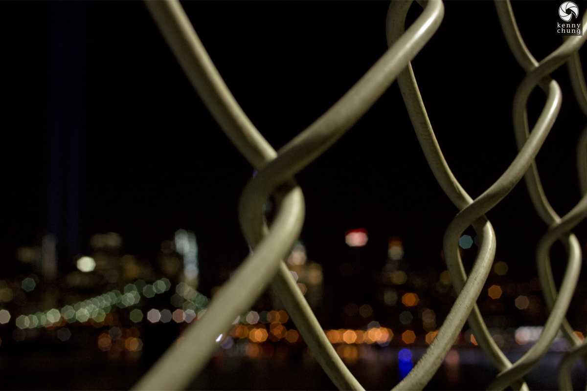 Tribute In Light and Brooklyn Bridge in bokeh from